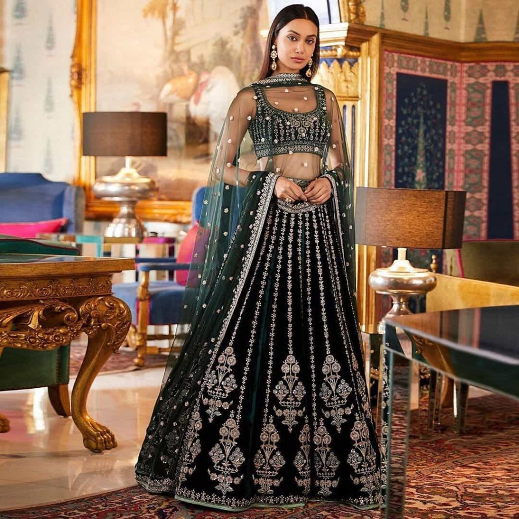 Blouse Designs for Velvet Lehenga